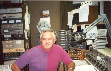 Gene Packard in air studio at WRDR